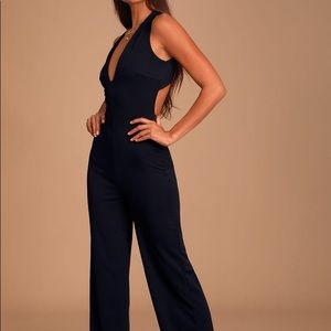 Lulu's NWT Thinking Out Loud backless jumpsuit